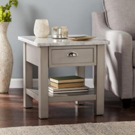 CK2762 Youngston By Southern Enterprises Faux Marble Square End Table - Gray