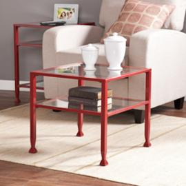 CK2770 Southern Enterprises Metal/Glass Bunching Cocktail Table - Red
