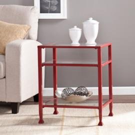 CK2772 Southern Enterprises Metal/Glass Bunching End Table - Red