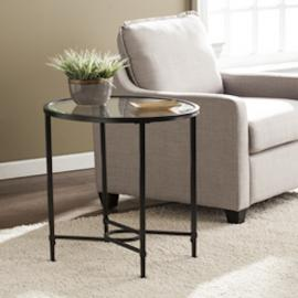 CK3602 Quinton By Southern Enterprises Metal/Glass Oval Side Table - Black