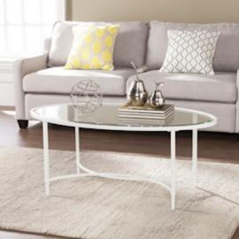 CK3610 Quinton By Southern Enterprises Metal/Glass Oval Cocktail Table - White