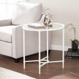 CK3612 Quinton By Southern Enterprises Metal/Glass Oval Side Table - White