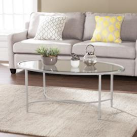 CK3620 Quinton By Southern Enterprises Metal/Glass Oval Cocktail Table - Silver