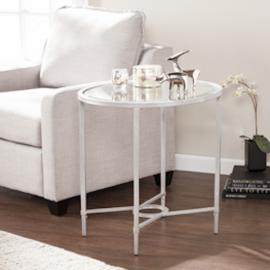 CK3622 Quinton By Southern Enterprises Metal/Glass Oval Side Table - Silver