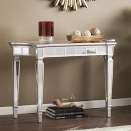 CK3633 Glenview By Southern Enterprises Glam Mirrored Console Table - Matte Silver
