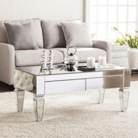 CK3690 Darien By Southern Enterprises Contemporary Mirrored Rectangular Cocktail Table