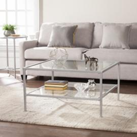 CK3720 Keller By Southern Enterprises Square Metal/Glass Open Shelf Cocktail Table - Silver
