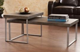CK4040 Nolan By Southern Enterprises Nested Cocktail Table 2pc Set - Burnt Oak