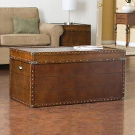 CK4191 Southern Enterprises Steamer Trunk Cocktail Table