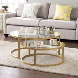 CK4290 Evelyn By Southern Enterprises Glam Nesting Cocktail Table 2pc Set - Gold