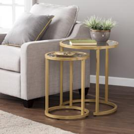 CK4292 Evelyn By Southern Enterprises Glam Nesting Side Table 2pc Set - Gold