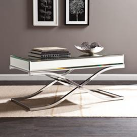 CK4370 Ava By Southern Enterprises Mirrored Cocktail Table - Chrome