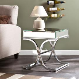 CK4372 Ava By Southern Enterprises Mirrored End Table - Chrome