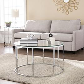 CK4670 Cranstyn By Southern Enterprises Round Cocktail Table w/ Glass Top - Glam Style