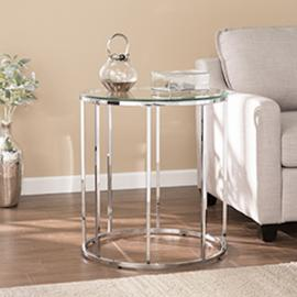 CK4672 Cranstyn By Southern Enterprises Round End Table w/ Glass Top - Glam Style - Chrome