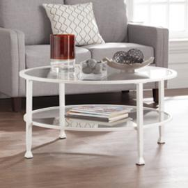 CK4740 Jaymes By Southern Enterprises Metal/Glass Round Cocktail Table - White