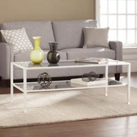 CK4779 Jaymes By Southern Enterprises Metal/Glass Rectangular Open Shelf Cocktail Table