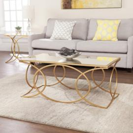 CK4840 Denise By Southern Enterprises Geometric Cocktail Table w/ Mirrored Top - Gold