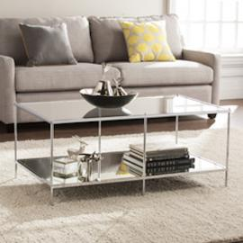 CK5000 Knox By Southern Enterprises Glam Mirrored Cocktail Table - Chrome
