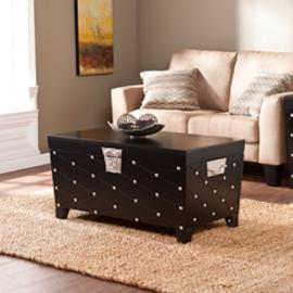 CK6124 Nailhead By Southern Enterprises Cocktail Table Trunk - Black/Satin Silver