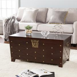 CK6224 Nailhead By Southern Enterprises Cocktail Table Trunk - Espresso
