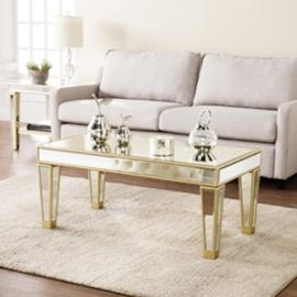 CK8120 Metz By Southern Enterprises Mirrored Cocktail Table - Glam Style - Champagne