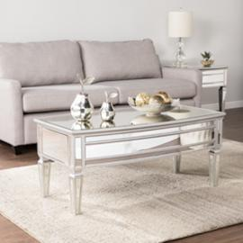 CK8160 Rochelle By Southern Enterprises Mirrored Cocktail Table - Glam Style - Silver