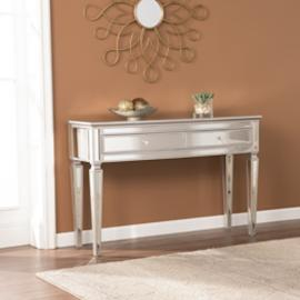 CK8163 Rochelle By Southern Enterprises Mirrored Console Table - Glam Style - Silver