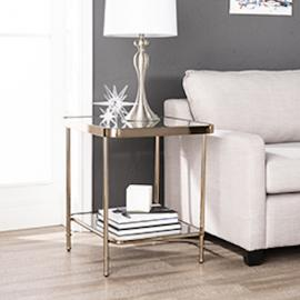 CK8282 Sandlin By Southern Enterprises Mirrored End Table - Glam Style - Champagne