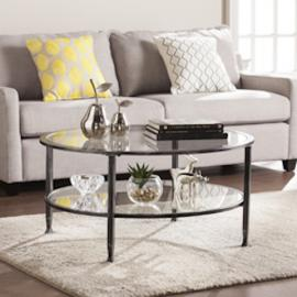 CK8740 Jaymes By Southern Enterprises Metal/Glass Round Cocktail Table - Black