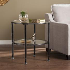 CK8742 Jaymes By Southern Enterprises Metal/Glass Round End Table - Black