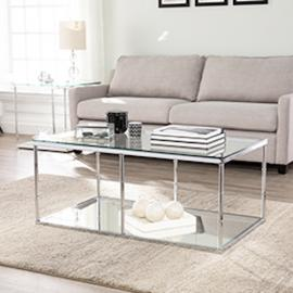 CK8980 Arbella By Southern Enterprises Glass Cocktail Table w/ Mirrored Shelf