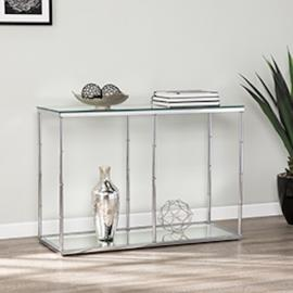 CK8983 Arbella By Southern Enterprises Glass Console Table w/ Mirrored Shelf