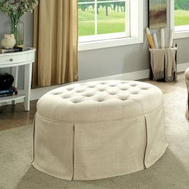 Claes by Furniture of America CM-BN6175BG Round Ottoman