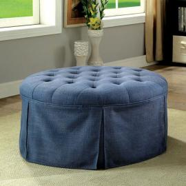 Claes by Furniture of America CM-BN6175BL Round Ottoman