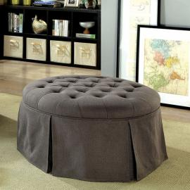 Claes by Furniture of America CM-BN6175GY Round Ottoman