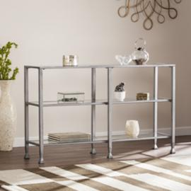 CM0771 Jaymes By Southern Enterprises Metal/Glass 3-Tier Console Table/Media Stand - Silver