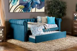 Heidi Collection 1027TL Teal Fabric Twin Daybed with Trundle