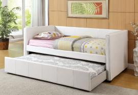 Cadiz Collection 1955WH White Leatherette Twin Daybed with Trundle