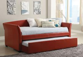 Delmar Collection 1956RD Red Leatherette Twin Daybed with Trundle