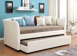 Delmar Collection 1956WH White Leatherette Twin Daybed with Trundle