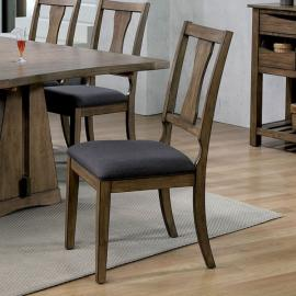 Benllech by Furniture of America Oak & Dark Grey Dining Chairs