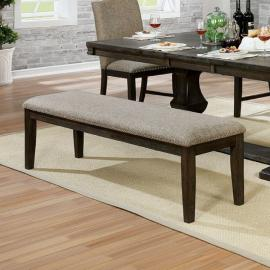 Faulk by Furniture of America Espresso & Warm Grey Dining Bench