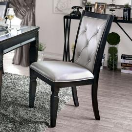 Alena by Furniture of America Black & Silver Dining Chairs