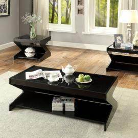 Sigourney by Furniture of America Black CM4182-3PK Coffee Table Set