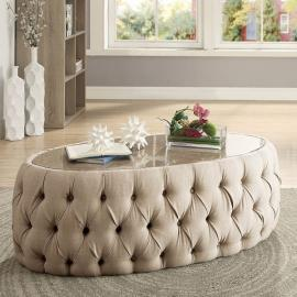 Deja by Furniture of America Beige Linen CM4185OC Oval Coffee Table