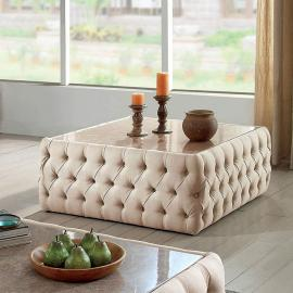 Deja by Furniture of America Beige Linen CM4185SQ Coffee Table