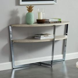 Madisyn White & Chrome Finish by Furniture of America CM4356S Sofa Table