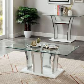 Staten Glossy White & Chrome Finish by Furniture of America Collection CM4372WH-C Coffee Table
