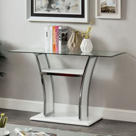 Staten Glossy White & Chrome Finish by Furniture of America Collection CM4372WH-S Sofa Table